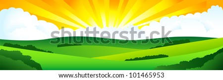Beautiful sun day. - stock vector