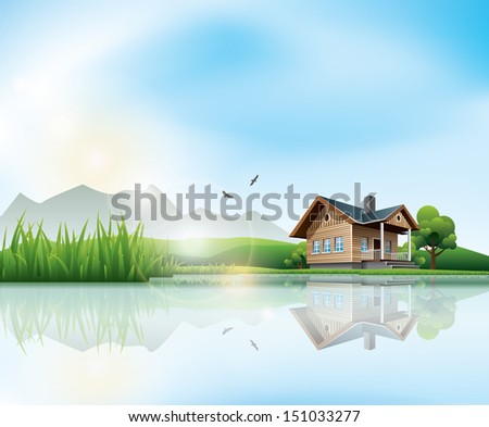 Beautiful sunny landscape with house and a lake - stock vector