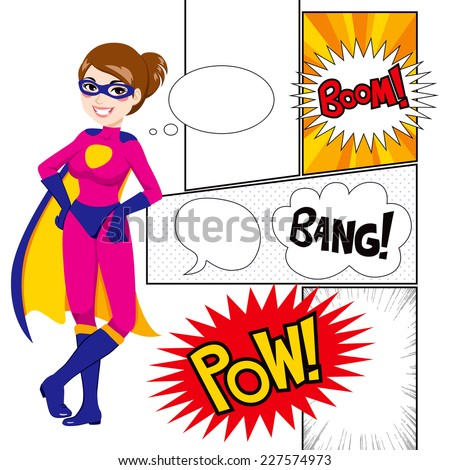 Beautiful super hero woman with comics panels and speech balloons - stock vector