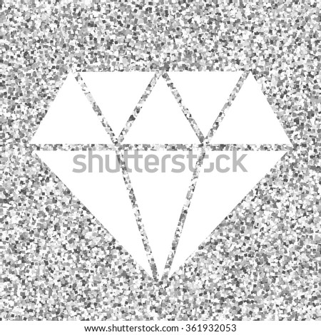 Beautiful symbol of luxury and fashion. Vector diamond shape on a shiny silver background for your wedding design. Perfect logo for a jewellery shop. Valentines day concept.  - stock vector