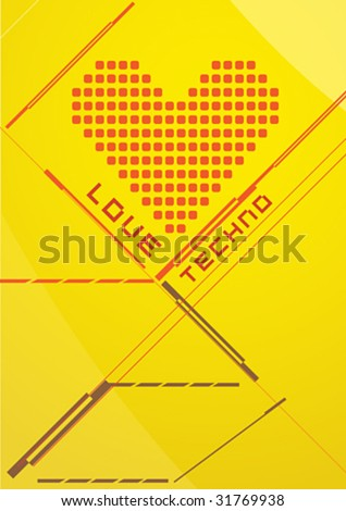 Beautiful  techno love party background. Vector illustration. - stock vector
