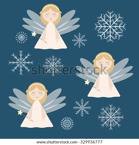 Beautiful template for Christmas card. Christmas decorative elements. Christmas background with angel and snowflake. Vector.  - stock vector