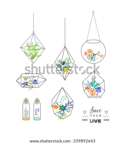 Beautiful terrariums with flowers. Wedding, marriage, bridal, birthday, Valentine's day. Perfect for making wedding invitations, birthday cards, scrapbooking, party decorations. Isolated. Vector - stock vector
