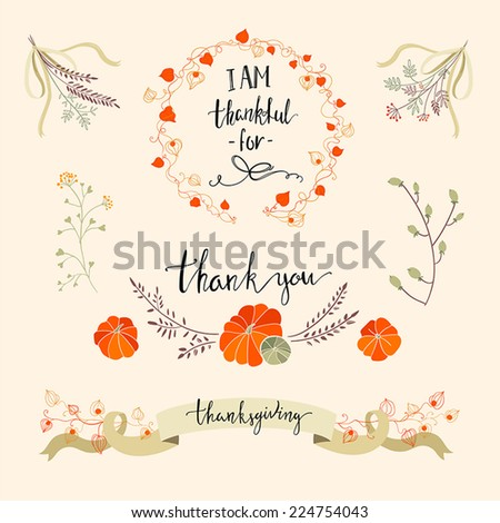 Beautiful thanksgiving element collection with flowers, pumpkins, ribbons and wreaths - stock vector