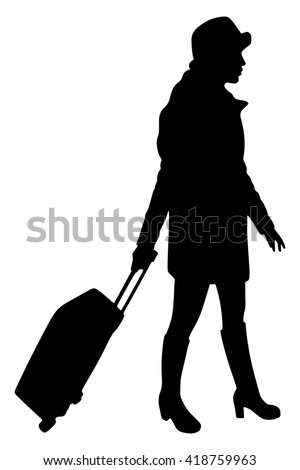 beautiful tourist with suitcase  - stock vector