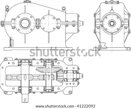 Beautiful transparent vector mechanical sketch - stock vector