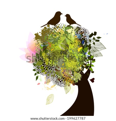 Beautiful tree with flowers, birds with love message. Vector - stock vector