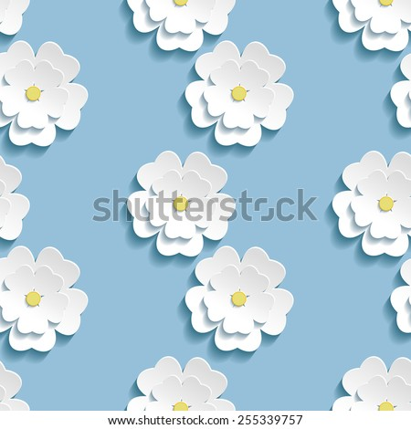 Beautiful trendy romantic background seamless pattern blue with white blossoming 3d flower sakura - japanese cherry tree. Floral stylish modern wallpaper. Vector illustration - stock vector