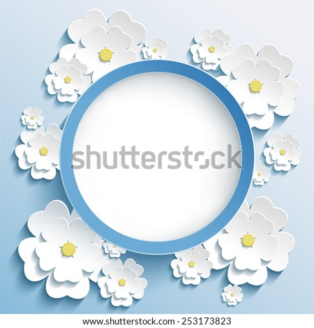 Beautiful trendy round frame with 3d white flowers sakura - japanese cherry tree. Greeting or invitation card with stylized blossoming sakura. Stylish modern blue background. Vector illustration - stock vector
