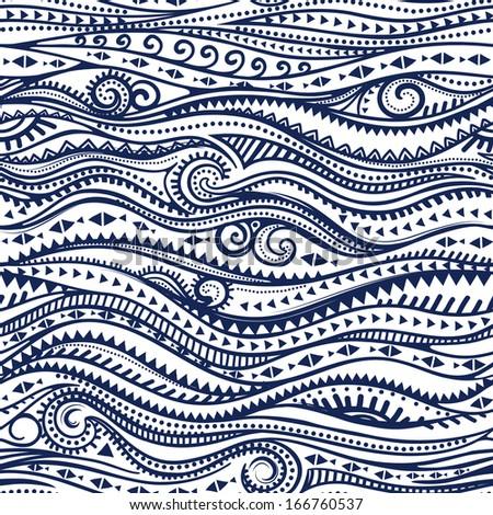 Beautiful tribal wave seamless - stock vector