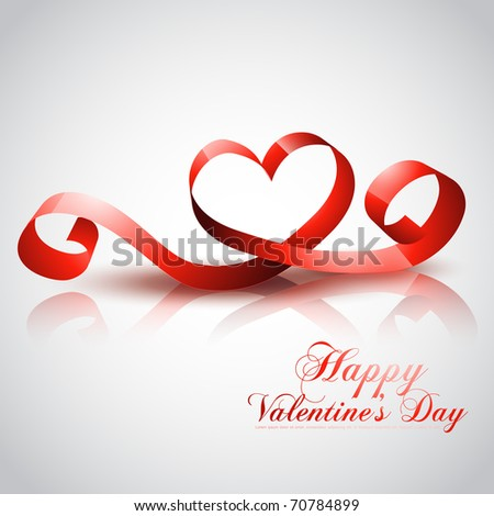 beautiful valentine day heart design made of ribbon - stock vector