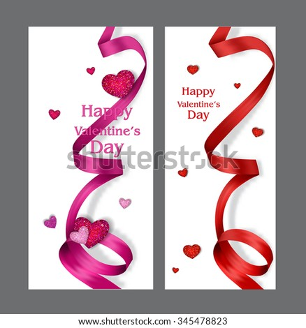 Beautiful Valentine's Day cards with silk ribbons and textured hearts - stock vector