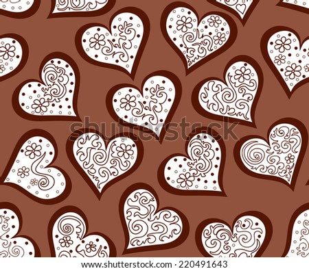 Beautiful valentine vector seamless pattern with ornamental hearts. You can use it as a wedding background, invitation, greeting card - stock vector