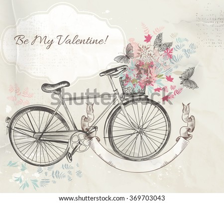 Beautiful Valentines Day card with  hand drawn bicycle and flowers  rustic style - stock vector