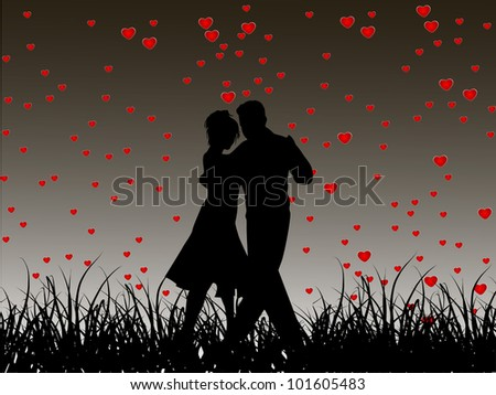 Beautiful Valentines Day flyer or background design or poster with dancing couple silhouette on heart shapes in evening background. EPS 10, Vector illustration. - stock vector