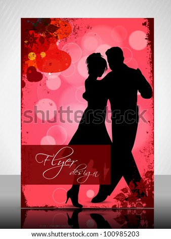 Beautiful Valentines Day flyer or banner design with dancing couple silhouette on floral and heart shapes abstract background in red color. EPS 10, vector illustration. - stock vector