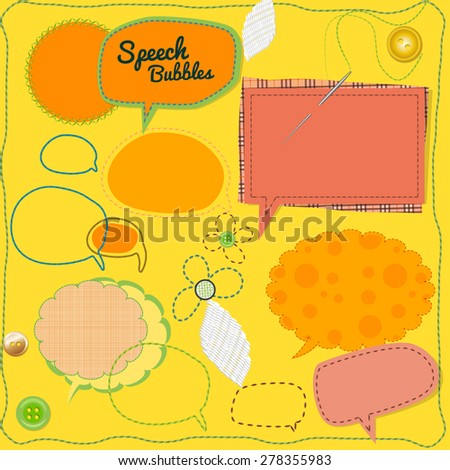 Beautiful vector collection of scrap-booking patchwork speech bubbles with seams, needle and buttons. Ideal for different sale advertisement, needlework shops and fashion decoration.  - stock vector