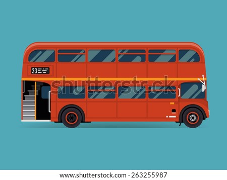 Beautiful vector double decker red bus, flat design. City public transport service vehicle retro bus, side view isolated - stock vector