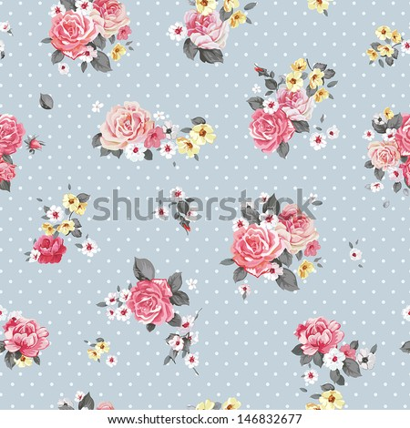 Beautiful Vector floral seamless pattern with blooming flowers. Elegance wallpaper with of pink roses - stock vector