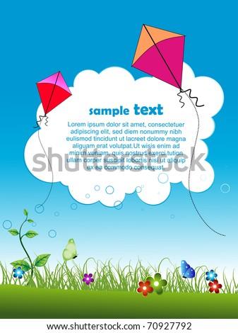 beautiful vector garden scene with kites flying - stock vector