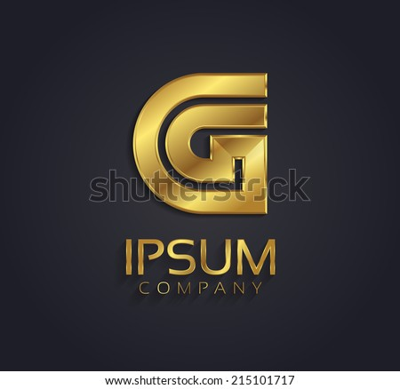 Beautiful vector graphic gold alphabet / letter G / symbol - stock vector