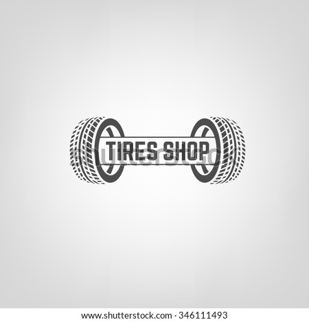 Beautiful vector illustration of the tire shop logotype. Modern graphic style. Transportation automotive concept. Digital pictogram collection - stock vector