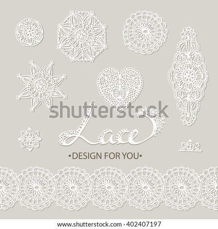 Beautiful vector lace elements - flowers, circles, heart and border - stock vector