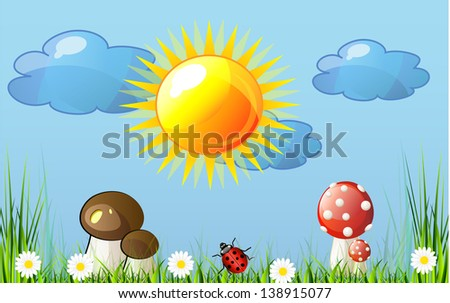 Beautiful vector landscape with green grass, garden, mushrooms and flowers and blue heaven. Abstract background. - stock vector