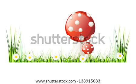 Beautiful vector landscape with green grass, garden, mushrooms and flowers. Isolation over white background. - stock vector