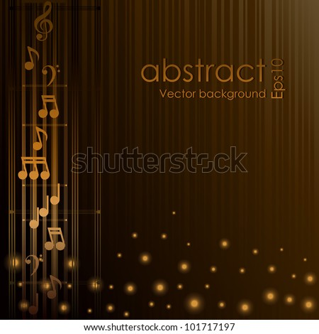 Beautiful Vector musical illustration of golden notes isolated on brown background - stock vector