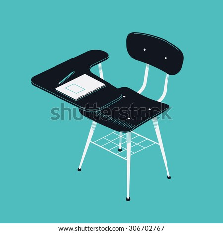 Beautiful vector retro school writing desk chair | Classroom scholar stool with copybook and pencil on writing table - stock vector
