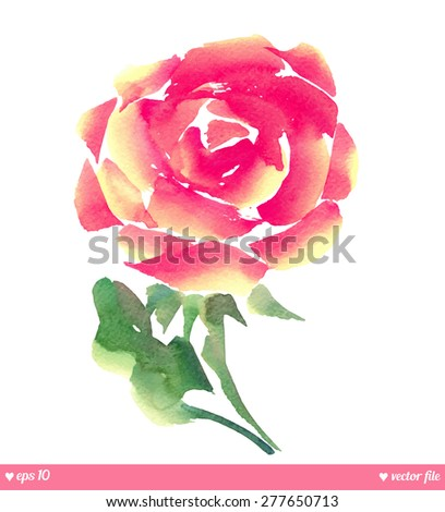 Beautiful vector rose. Watercolor. Hand painting illustration artwork. Happy Valentines day.  Love concept for wedding invitations card ticket, congratulations, branding. Gift for young girl and women - stock vector