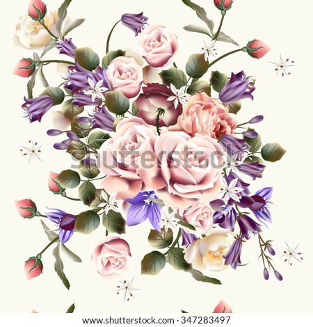 Beautiful vector seamless background or pattern with rose flowers and bells in vintage style - stock vector