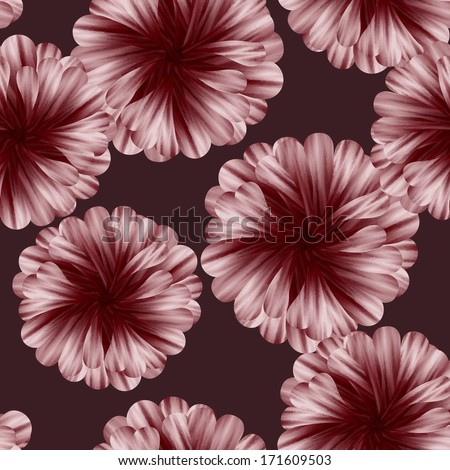Beautiful vector seamless flowers pattern with dahlias. - stock vector