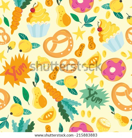 Beautiful vector seamless pattern of sweets. Bright illustration, can be used for menu, invitations, greeting card, wallpaper and textile. - stock vector