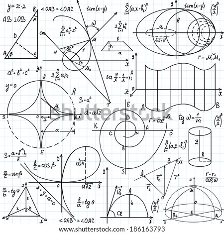 """Beautiful vector seamless pattern with mathematical figures and plots, """"handwritten on the copybook paper"""" - stock vector"""