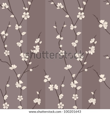 Beautiful vector seamless pattern with sakura branches - stock vector