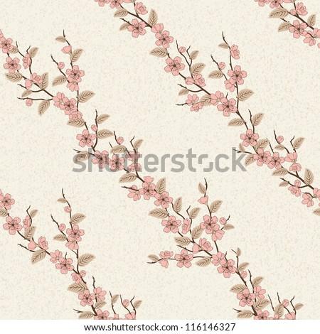 Beautiful vector seamless pattern with sakura flowers - stock vector