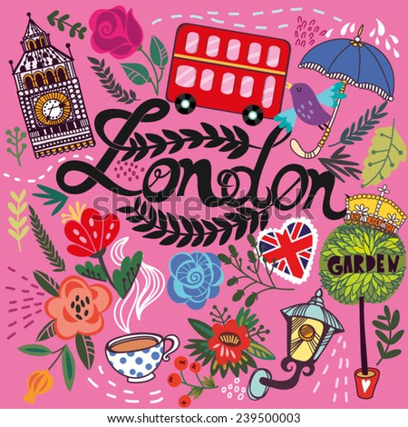 Beautiful vector set of London's symbols in cute decorative style. - stock vector