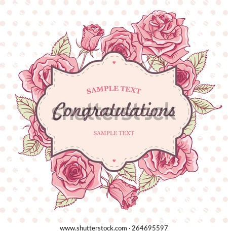 Beautiful Vector Vintage Roses Invitation Card - stock vector