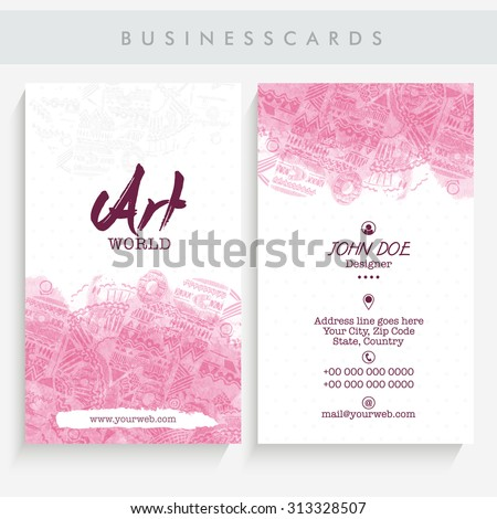 Beautiful vertical business card, name card or visiting card set decorated with pink color abstract designs.  - stock vector