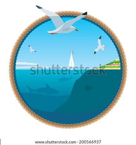Beautiful view of the sea. Seagull soars above the azure waves. Sharks swim in the deep. Vector illustration - stock vector