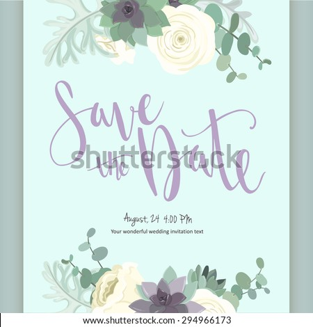 Beautiful  vintage card. Floral frame, can be used as greeting card,invitation card for wedding,birthday and other holiday. Cute rose and succulent with flowers, leaves and herbs. - stock vector