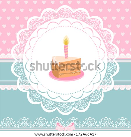 Beautiful Vintage card on Birthday with piece of cake - stock vector