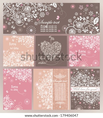 Beautiful vintage cards - stock vector