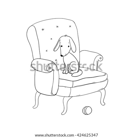 Beautiful vintage chair, cute dog and a ball. Hand drawing isolated objects on white background. Vector illustration. Coloring book - stock vector