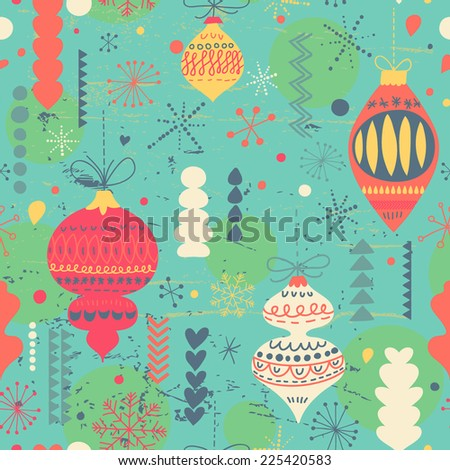 Beautiful vintage Christmas and New Year seamless pattern in vector. Seamless pattern can be used for wallpapers, pattern fills, web page backgrounds, surface textures. - stock vector
