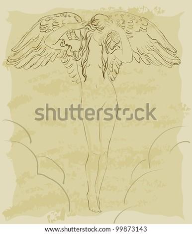 beautiful vintage flying angel - stock vector