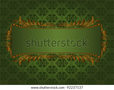 beautiful vintage frame of gilded ornament on a green background - stock vector