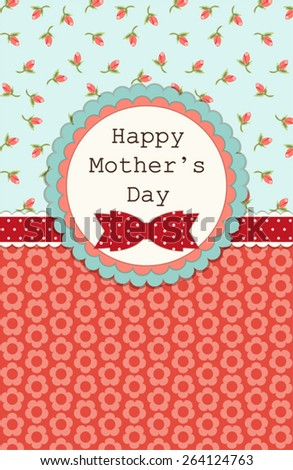Beautiful vintage Mother's Day card in shabby chic style - stock vector
